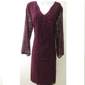 Xhilaration Maroon Lace Crochet Shift Dress Plus